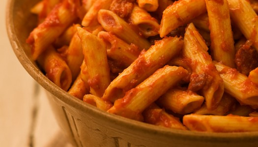 Penne with Tomato Bacon Sauce
