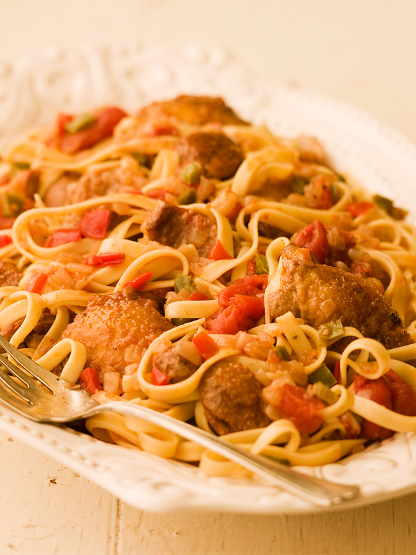 pasta pork pasta with braised chicken sausages peppers tomatoes ...
