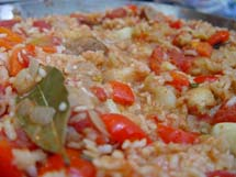 Spanish Paella with Shrimp, Chicken and Sausage