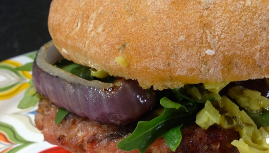 Spiced Sausage Burgers with Arugula and Honey Mustard Relish